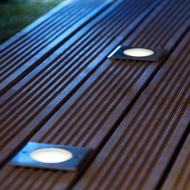 Oświetlenie tarasowe LED Blooma Flax kwadratowe 300 lm 4000 K stalowe