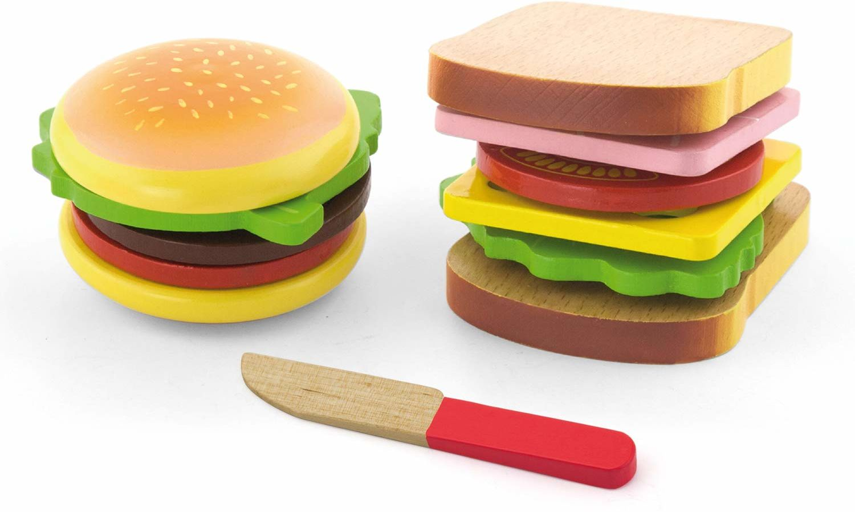 Viga Drewniany zestaw hamburger i kanapki - dzieci udawają zabawę jedzenie zabawka kuchenna