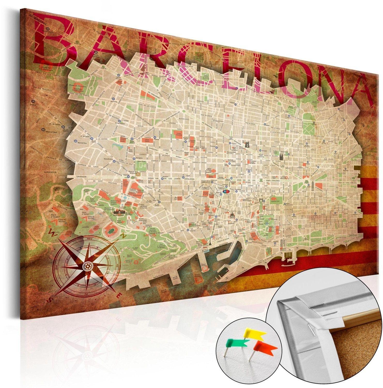 Obraz na korku - mapa barcelony [mapa korkowa]