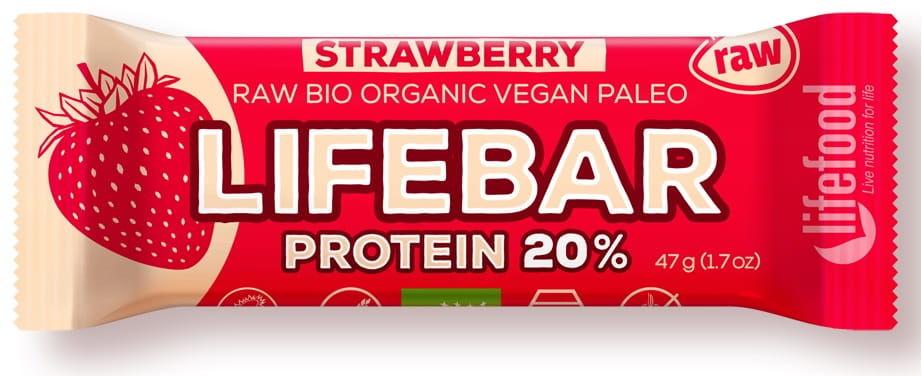 Baton truskawkowy proteinowy z białkiem ryżowym bio 47 g - lifefood