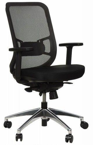 Krzesło obrotowe biurowe z podstawą aluminiową i wysuwem siedziska model GN-310/SZARY fotel biurowy obrotowy - Stema
