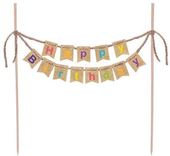 Topper na tort Happy Birthday krafotowy 20cm 1 sztuka DC2663