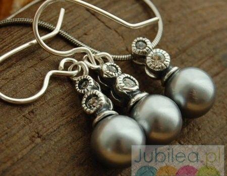 Srebrny komplet perły i cyrkonie baobab