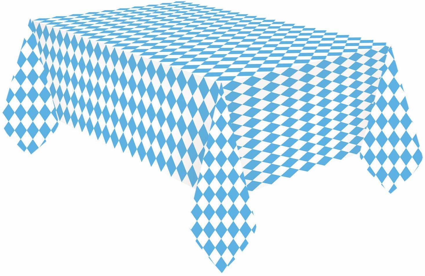 Amscan 9904817 - obrus Bawaria, rozmiar 115 x 175 cm, niebiesko-biały, obrus z papieru, ławeczka piwa, Oktoberfest, stół, dekoracja, impreza tematyczna, przyjęcie ogrodowe
