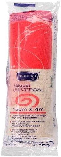 Bandaż elastyczny, uniwersalny Matopat Universal, niejałowy z zapinką 15 cm x 4 m