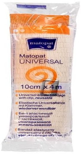 Bandaż elastyczny, uniwersalny Matopat Universal, niejałowy z zapinką 10 cm x 4 m