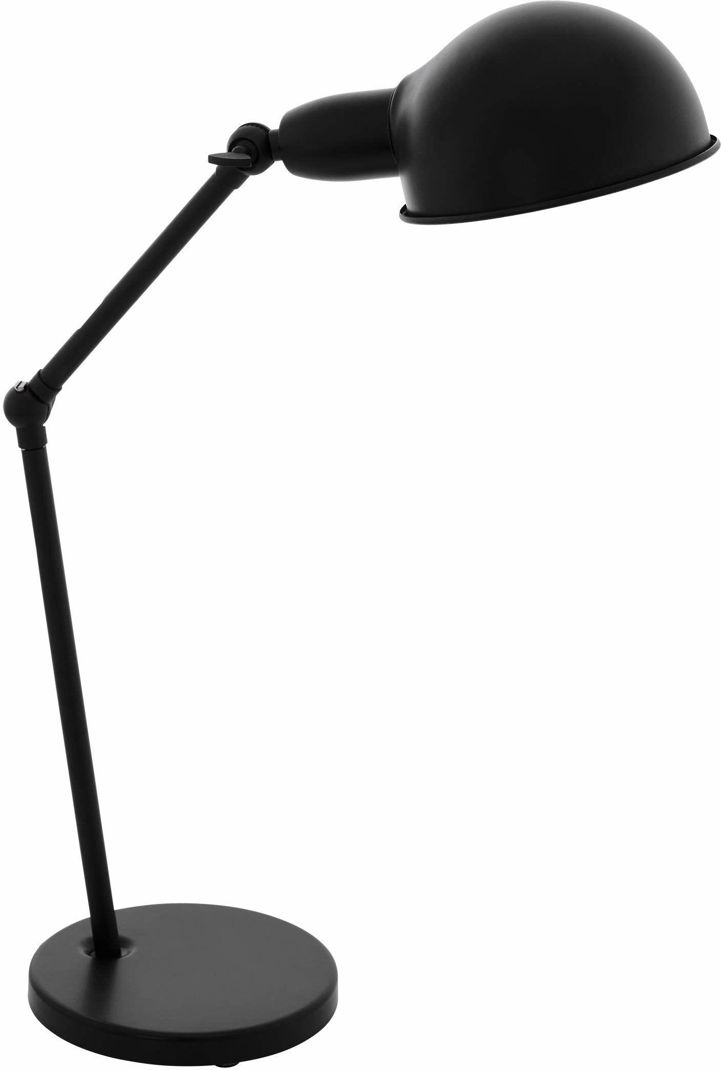 EGLO Exmoor lampa stołowa w stylu vintage, industrialny, retro, ze stali, lampka na biurko w kolorze czarnym, lampa z przełącznikiem, oprawka E27