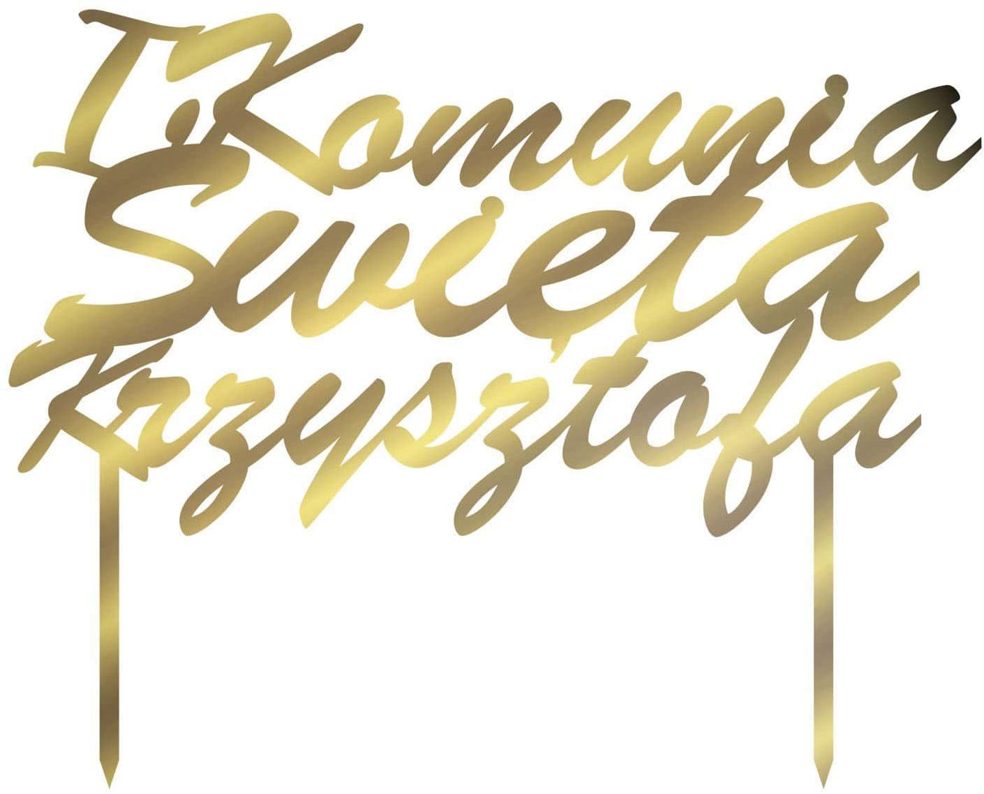 Topper z lustrzanej pleksi złoty personalizowany na tort I Komunia Święta