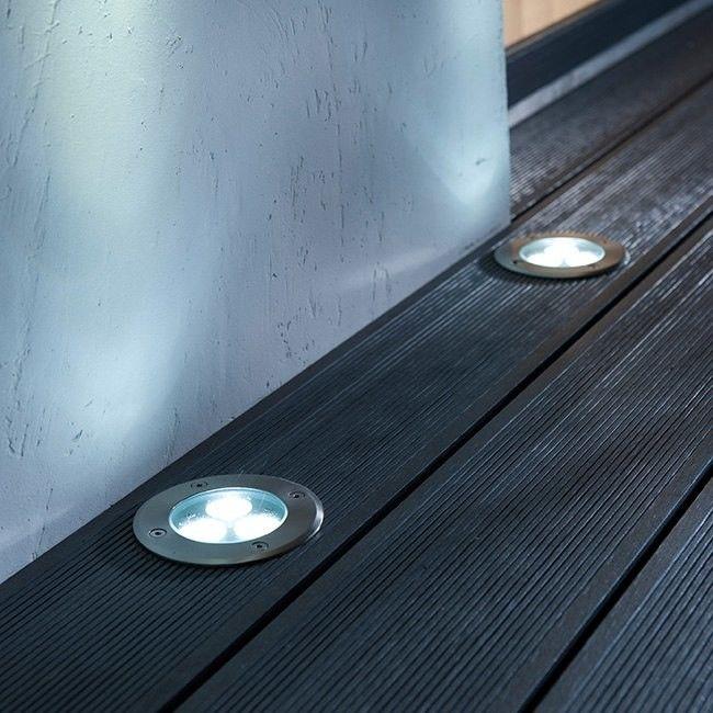 Oświetlenie tarasowe LED Blooma Flax 4000 K stalowe