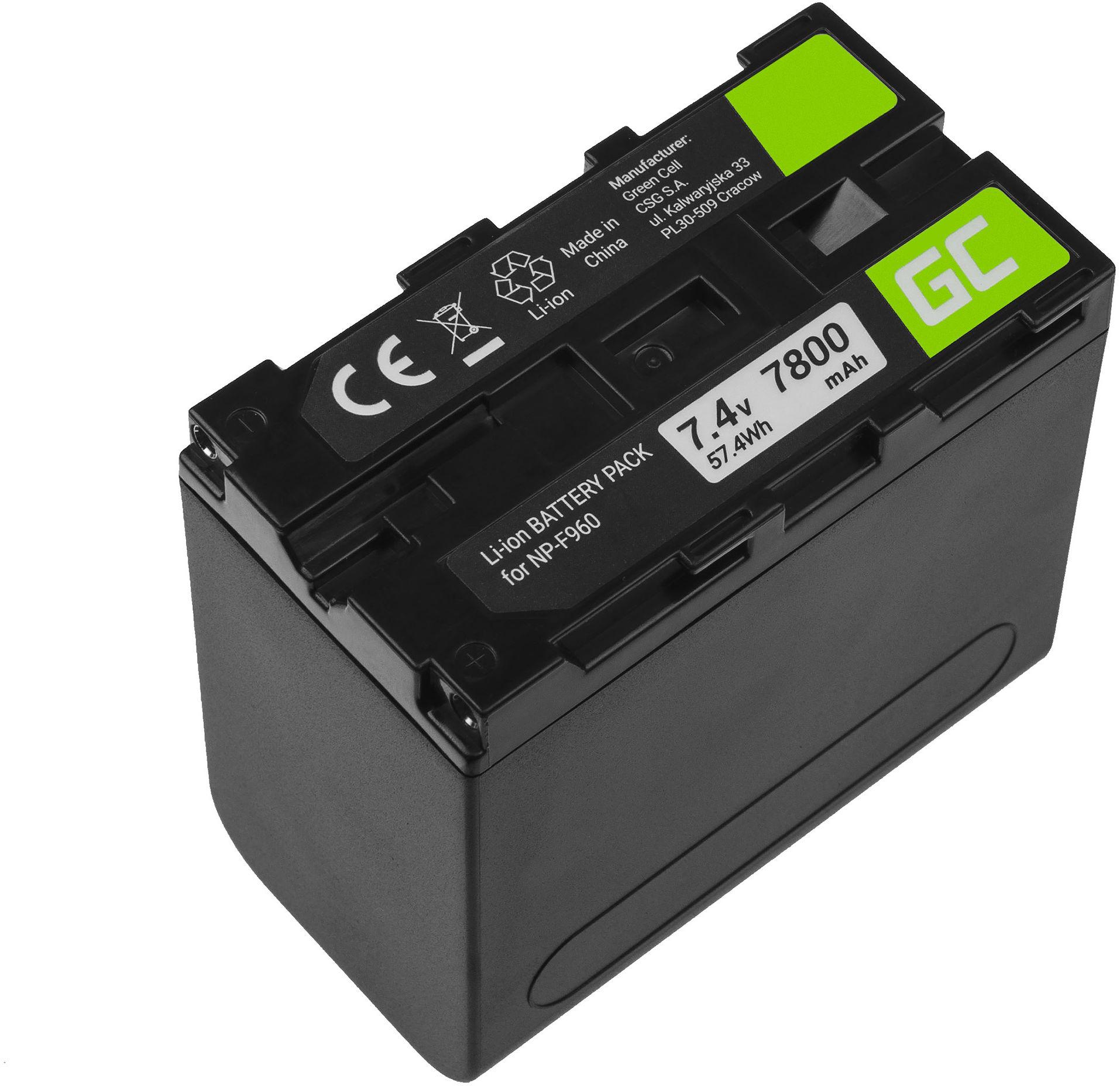 Akumulator Bateria Green Cell NP-F960 NP-F970 NP-F975 do Sony 7.4V 7800mAh
