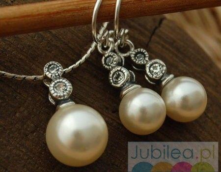 Srebrny komplet z perła chopin