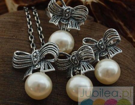 Srebrny komplet z perłami kokarda