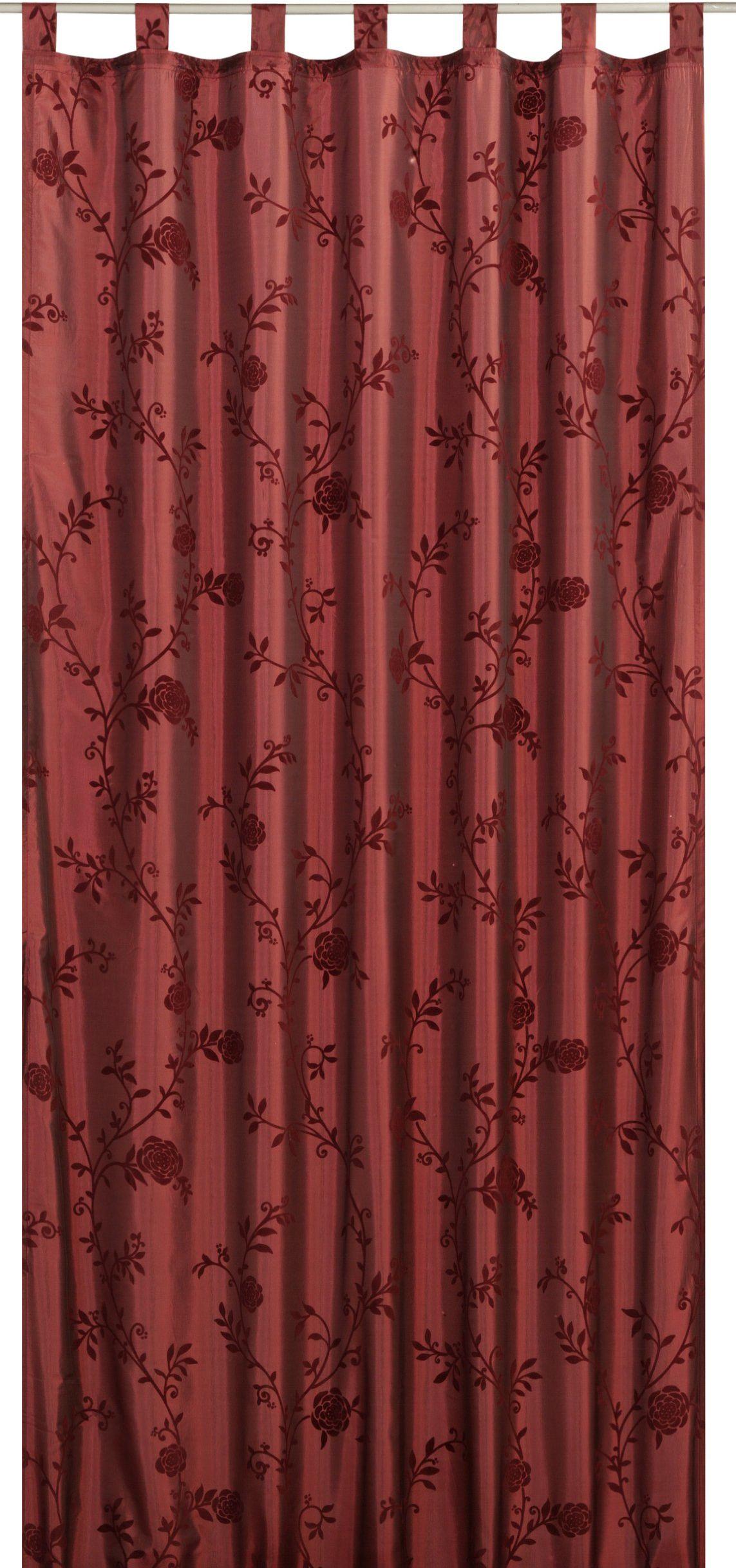 Elbersdrucke Bonjour Taft 14 gotowa dekoracja, poliester, bordowy, czerwony, 255 x 140 cm