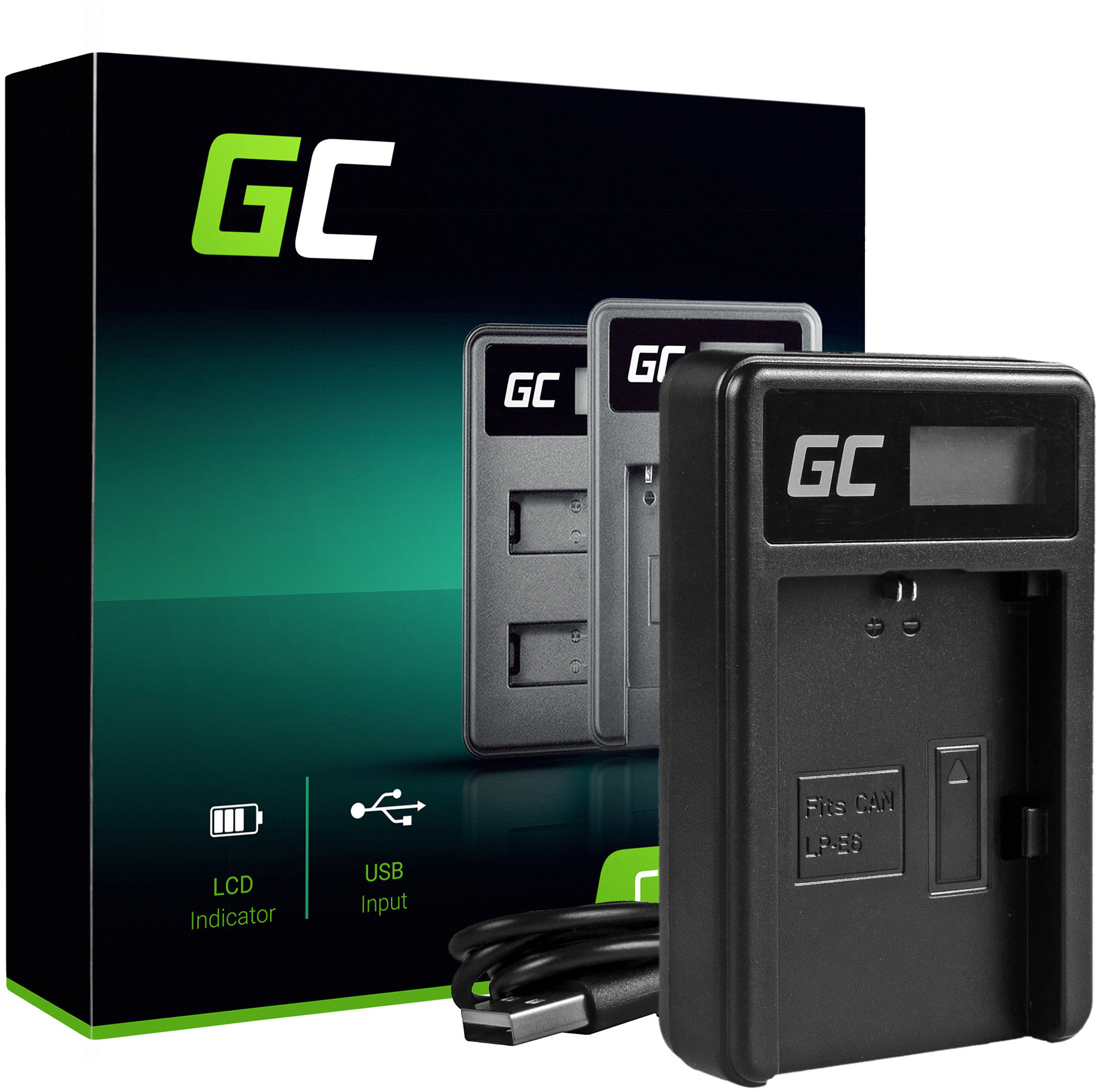 Ładowarka LC-E6 Green Cell  do Canon LP-E6 LPE6N, EOS 5D MARK III/II 6D 7D 60D 60DA BG-E6 (8.4V 5W 0.6A)