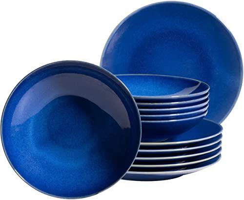 MÄSER 931733 Ossia, zestaw talerzy dla 6 osób w śródziemnomorskim stylu vintage, 12-częściowy nowoczesny serwis stołowy z talerzami na zupę i talerzami obiadowymi w kolorze ciemnoniebieskim, ceramika