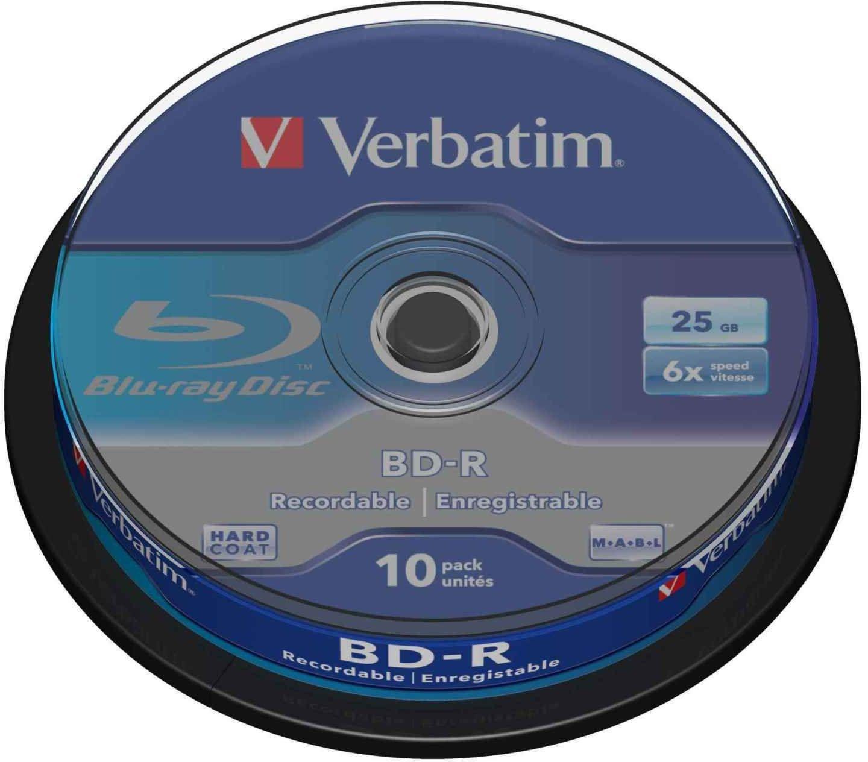 Verbatim BD-R pojedyncza warstwa  płyta Blu-ray 25 GB, 6 x prędkość spalania, ochrona przed zarysowaniami, 10-pak wrzeciono, niebieski/biały, 43742