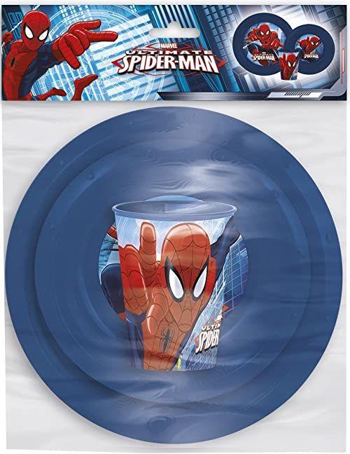 Oficjalny 3-częściowy zestaw piknikowy Marvel Ultimate Spider-Man - talerz, miska i kubek