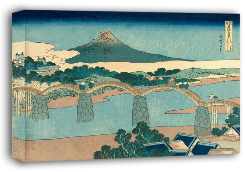The brocade bridge in suo province, hokusai - obraz na płótnie wymiar do wyboru: 70x50 cm