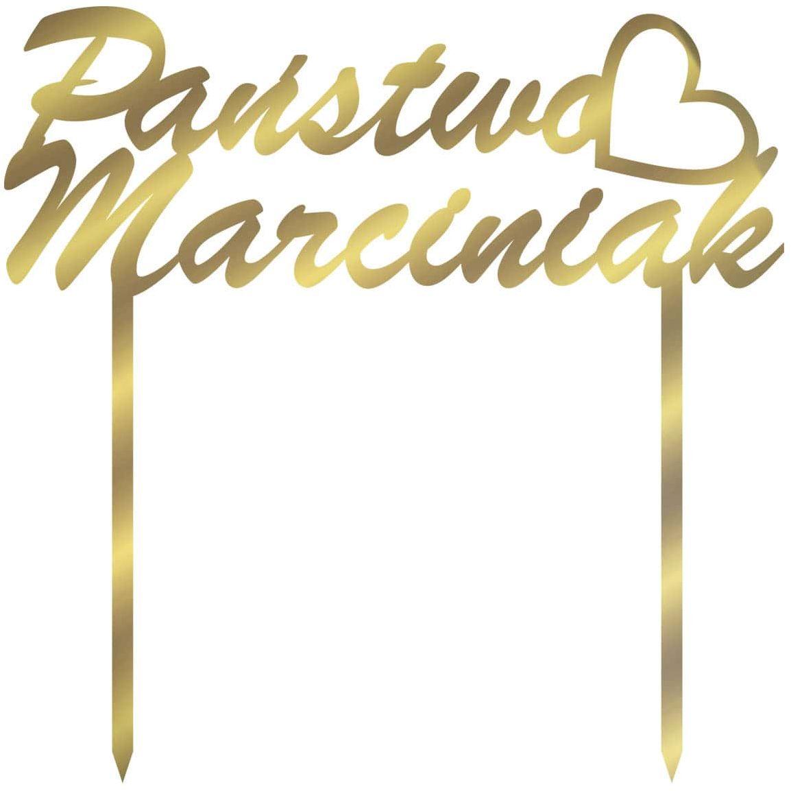 Topper z lustrzanej pleksi złoty na tort personalizowany na wesele - 15 cm