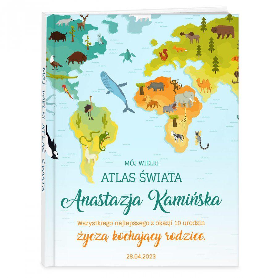 Atlas geograficzny z nadrukiem dla dziewczynki na urodziny