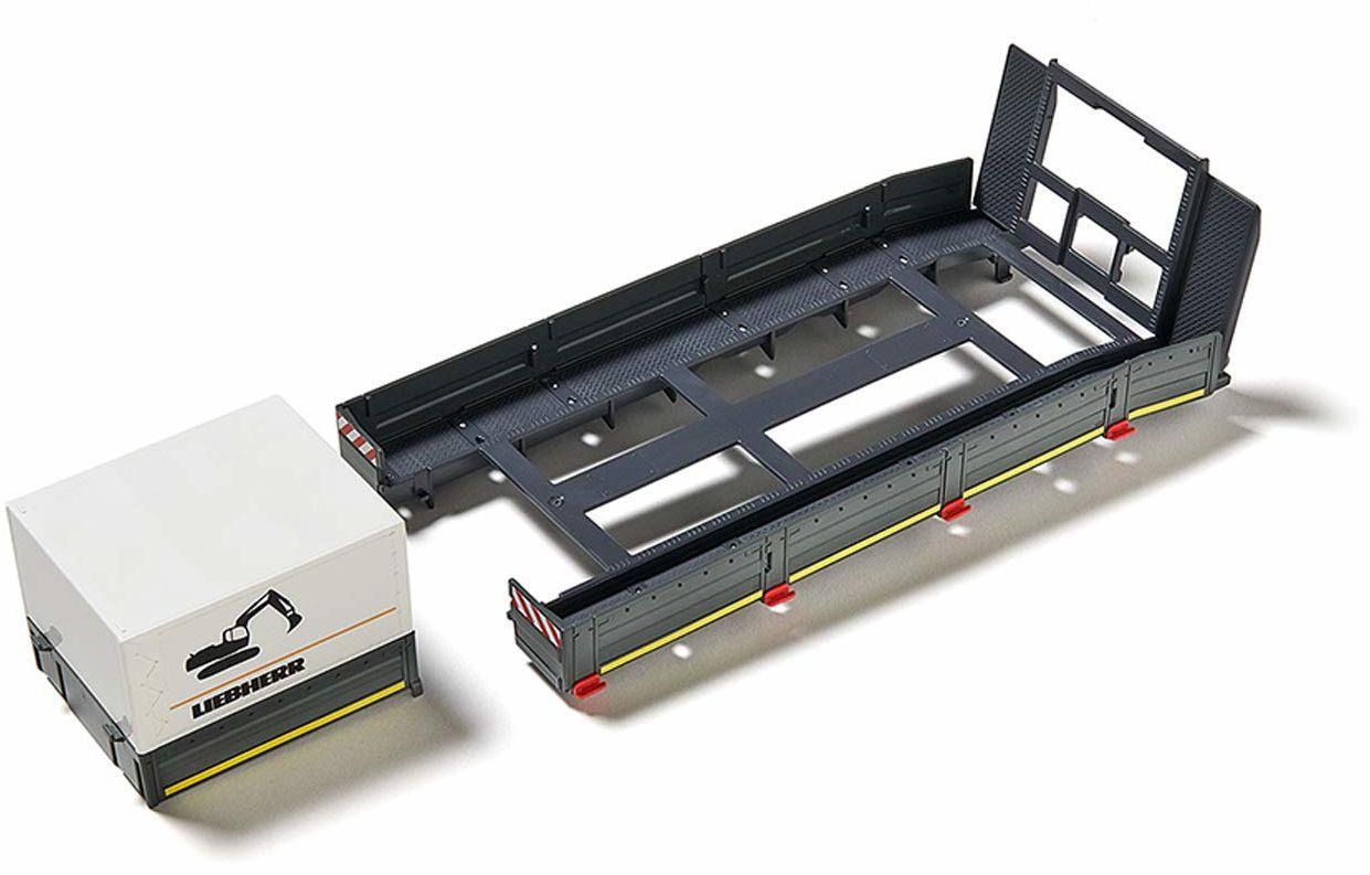 SIKU 6714, Nadbudowa platformy do samochodu SIKU Control, 1:32, tworzywo sztuczne, kolor: czarny, z kłonicami, płaskownikiem i plandeką, do zestawu SIKU Control: ciągnik MAN ze skrzynią ładunkową