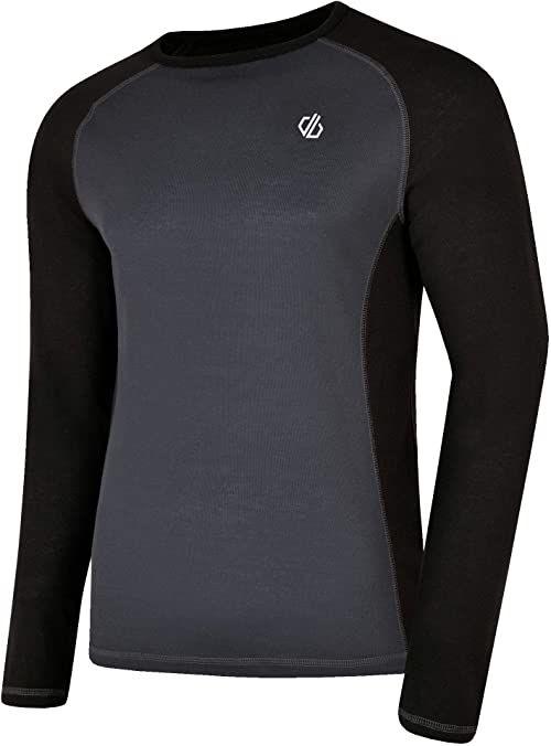 Dare2b męska wymiana szybko odprowadza i szybko schnie antybakteryjna kontrola zapachu długi rękaw warstwa bazowa z tkaniną termiczną spodnią spodnią szczotką, czarny/hebanowy, szary, XXXL