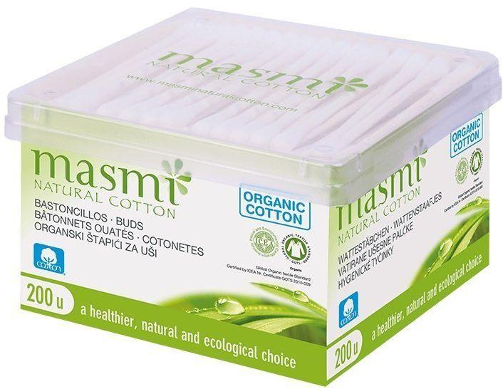 MASMI Patyczki higieniczne do uszu z organicznej bawełny 200 SZT
