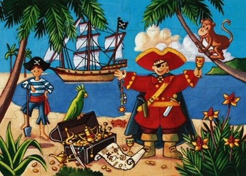 Djeco - Puzzle Tekturowe Pirat 36 Elementów Dj07220
