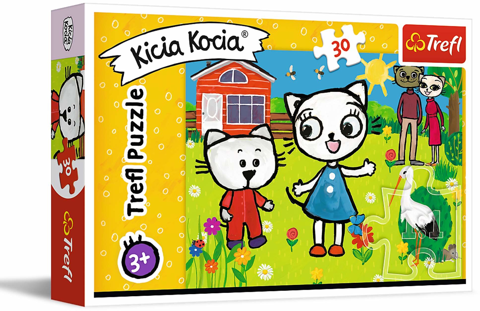 Trefl Przygody Kici Koci Puzzle 30 Elementów o Wysokiej Jakości Nadruku dla Dzieci od 3 lat