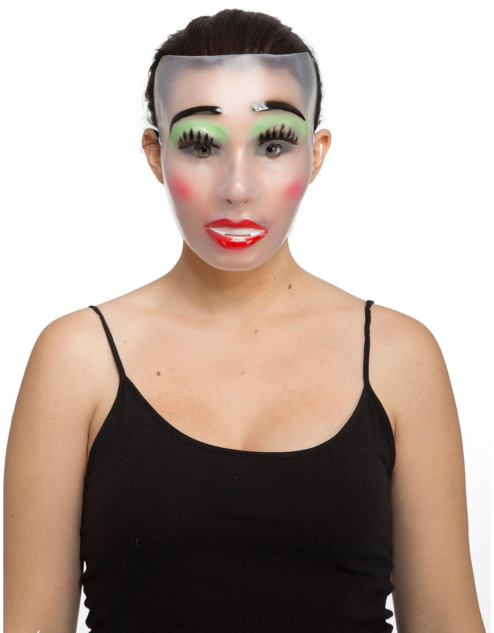 Viving Costumes 204566 przezroczysta maska damska, wielokolorowa, jeden rozmiar