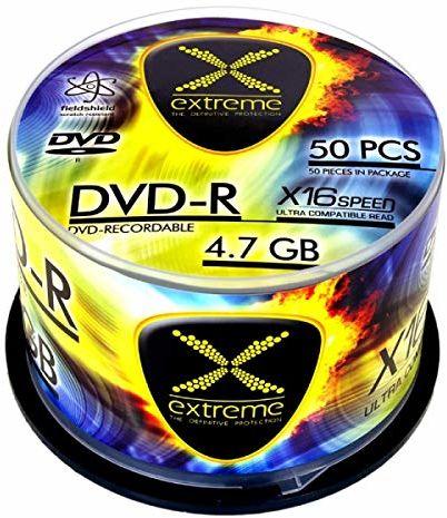 Esperanza 1164 DVD-R Extreme 4,7 GB X16 - Cake Box 50 sztuk żółty/niebieski