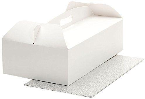 Decora 0340112 pudełko na ciasto z uchwytem do noszenia, 36 x 21 x 12 cm, płyty tortowe 36 x 21 x wys. 3 mm
