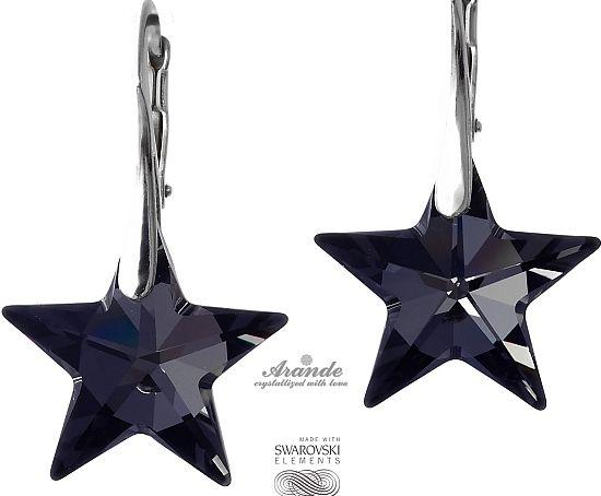 SWAROVSKI piękne kolczyki NIGHT STAR SREBRO
