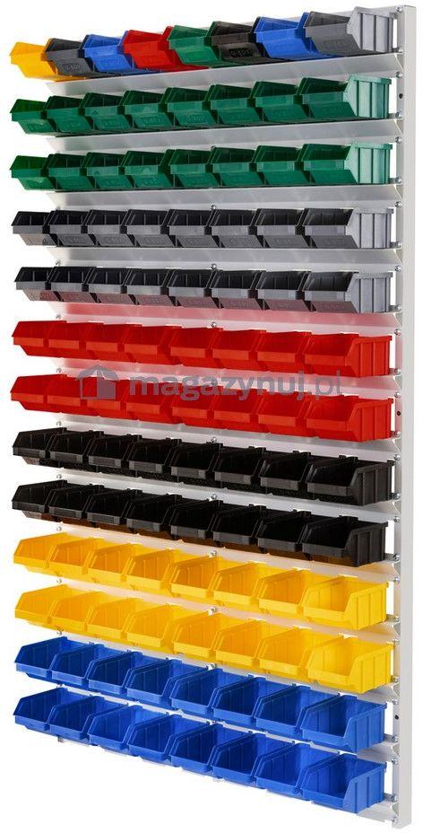Regał do pojemników warsztatowych, wiszący. Wym: 1610x940x380mm 104 pojemniki (Pojemniki z pojemnikami)