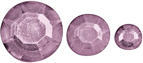 Rayher 1522916 akrylowe kamienie stras, trzy rozmiary 6, 10, 14 mm ø, torebka 310 sztuk, kamienie stras, kamienie ozdobne do naklejenia, błyszczące kamienie, różowe