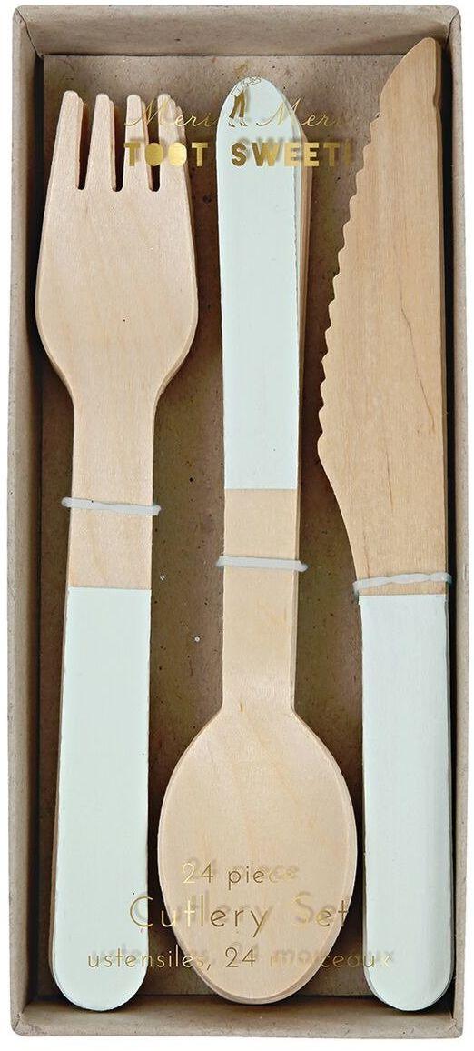 Meri Meri  Sztućce drewniane Miętowe