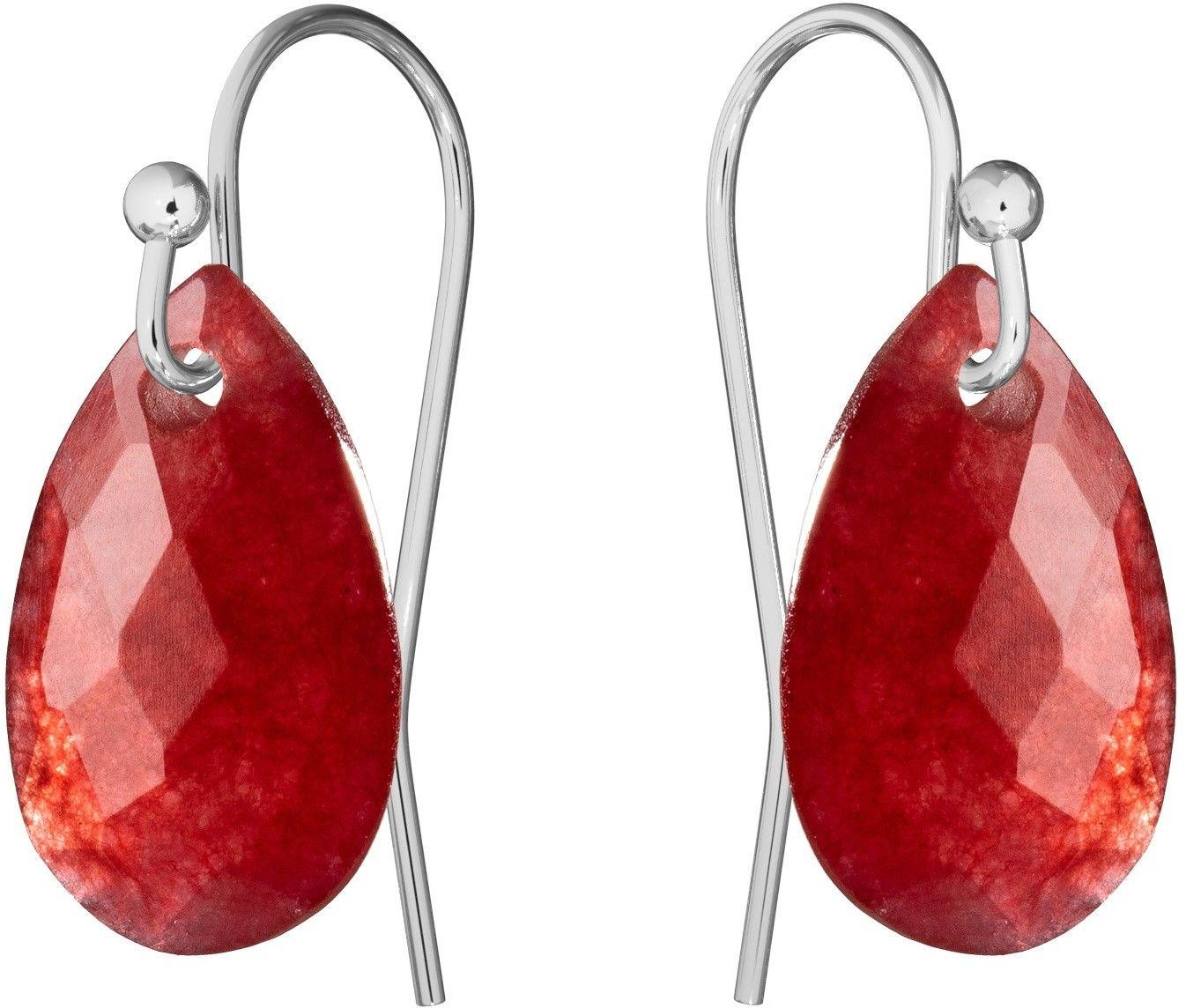 Delikatne kolczyki z naturalnym kamieniem Gavbari, srebro 925 : Kamienie naturalne - kolor - jadeit czerwony, Srebro - kolor pokrycia - Pokrycie platyną