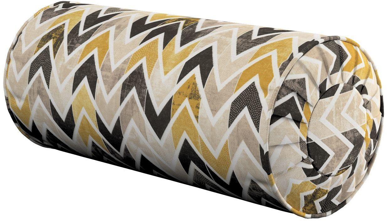 Poduszka wałek z zakładkami, musztardowo- czarno- beżowe zygzaki na jasnym tle, Ø20  50 cm, Modern