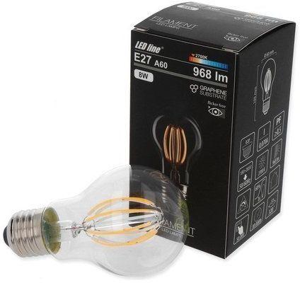 Żarówka LED line FILAMENT E27 A60 180-265V 8W 968lm 2700K biała ciepła