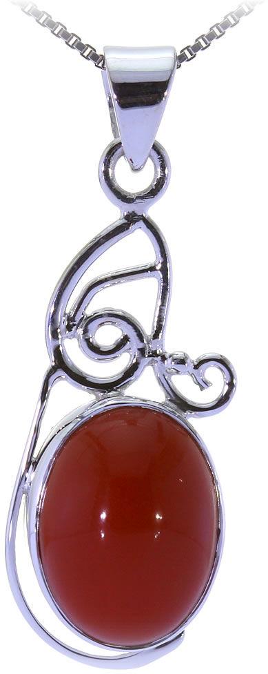 Kuźnia Srebra - Zawieszka srebrna, 35mm, Czerwony Onyks, 4g, model