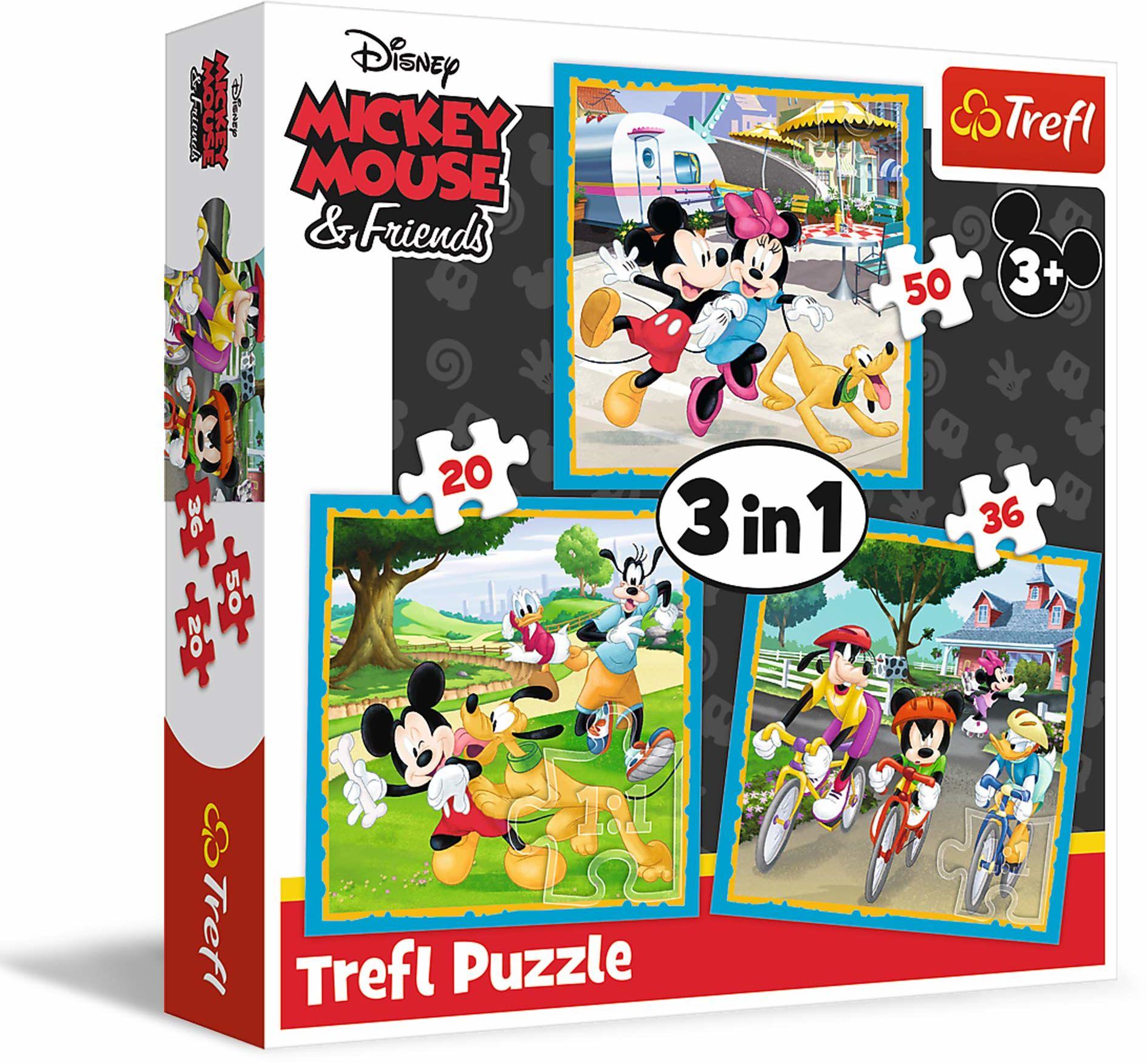 Trefl Myszka Miki z Przyjaciółmi Puzzle 3 w 1 Disney Mickey Mouse & Friends o Wysokiej Jakości Nadruku dla Dzieci od 3 lat