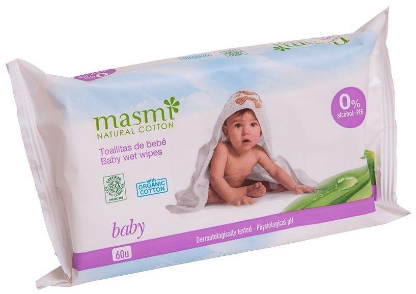 MASMI Wilgotne organiczne bawełniane chusteczki oczyszczaja ce dla dzieci 60 szt