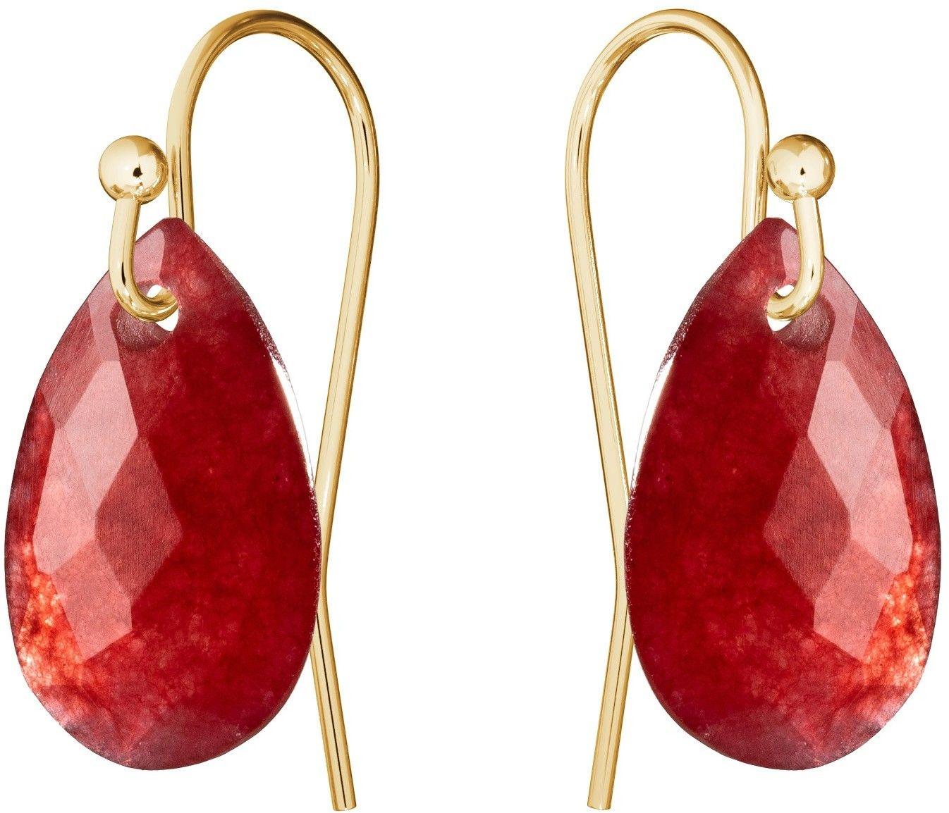 Subtelne złote kolczyki z naturalnym kamieniem Gavbari, złoto 585 : Kamienie naturalne - kolor - jadeit czerwony