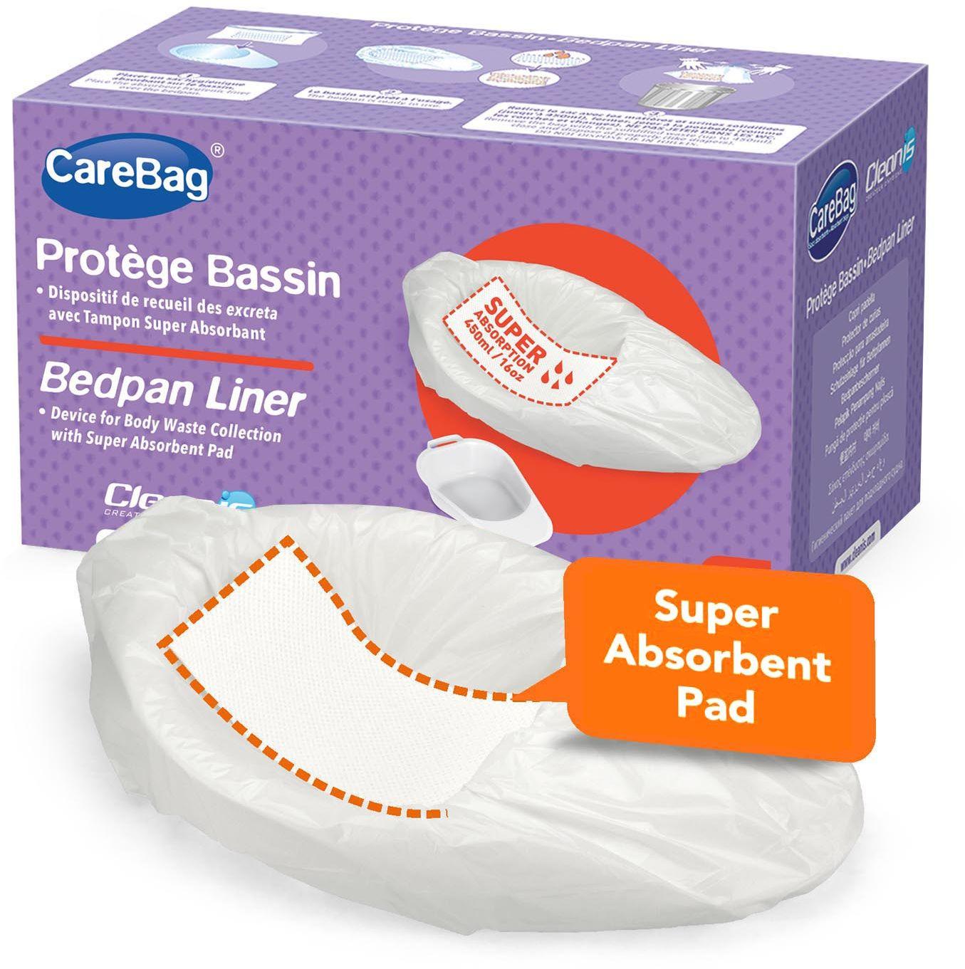 CareBag  Bedpan liner - worek na basen sanitarny z wkładką żelującą, wymiary worka 59 x 38 cm - opakowanie 20 sztuk