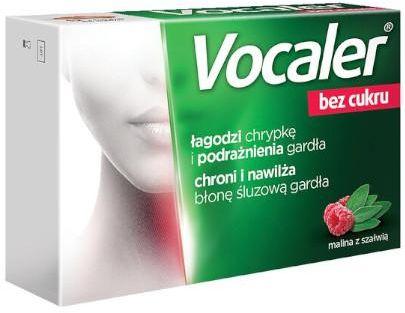 Vocaler bez cukru pastylki o smaku maliny z szałwią 12 sztuk