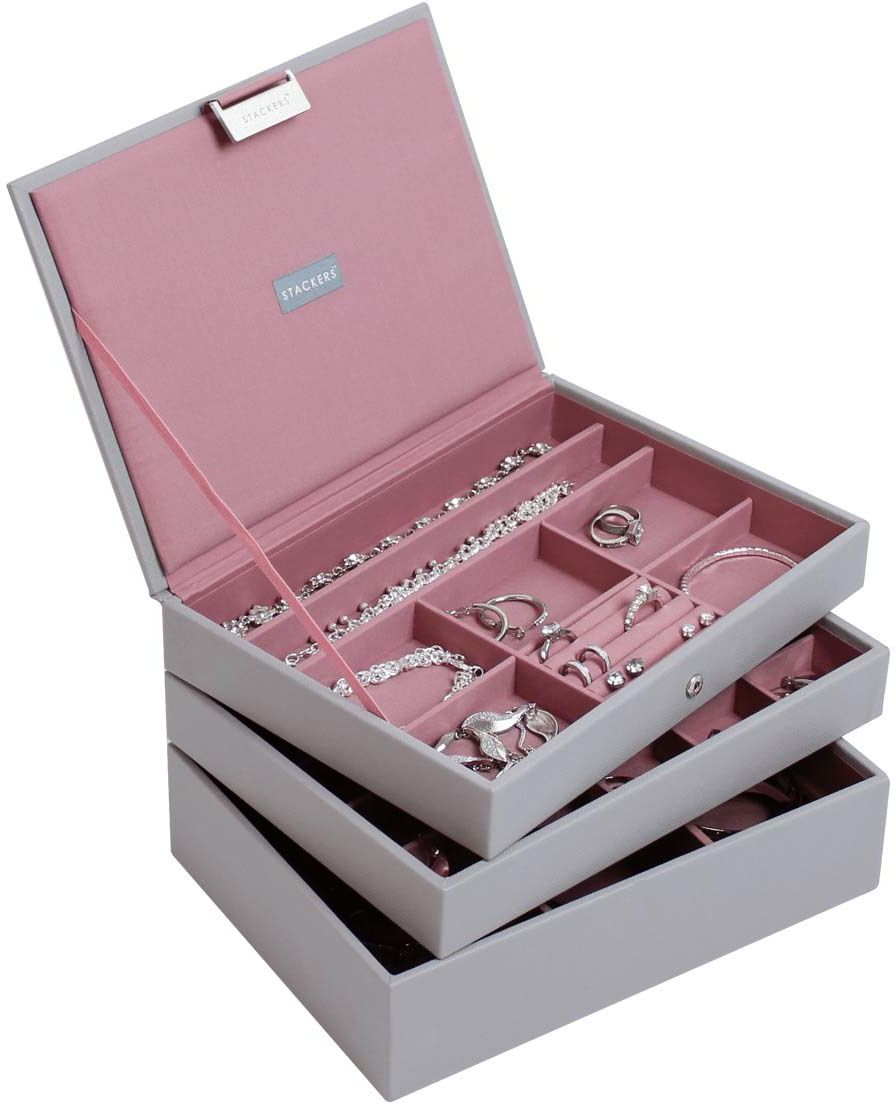 Pudełko na biżuterię, potrójne (szaro-różowe) Classic Stackers