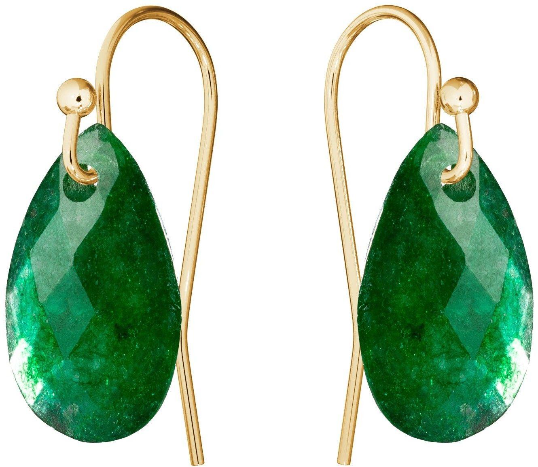 Subtelne złote kolczyki z naturalnym kamieniem Gavbari, złoto 585 : Kamienie naturalne - kolor - jadeit zielony ciemny