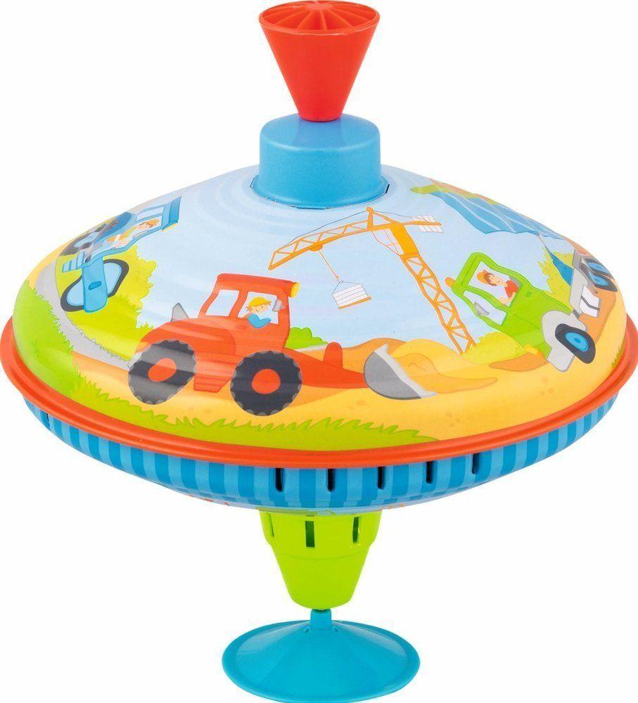 Metalowy bączek dla dzieci na podstawce z dźwiękiem Plac budowy 53811-Goki, zabawki dla małych dzieci