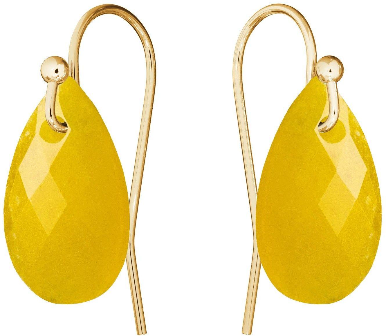 Subtelne złote kolczyki z naturalnym kamieniem Gavbari, złoto 585 : Kamienie naturalne - kolor - jadeit żółty
