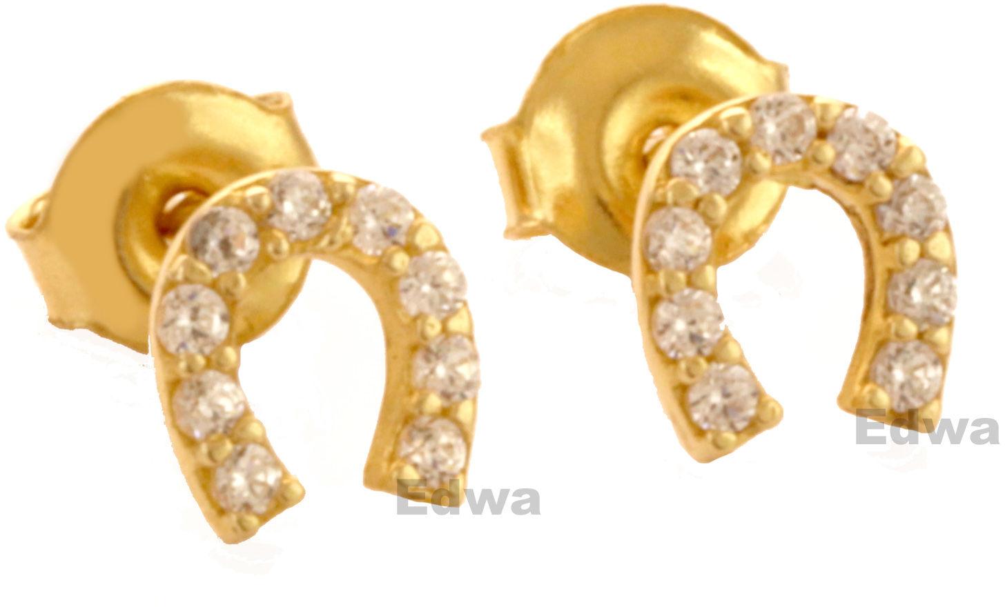 Kolczyki złote Podkowy z cyrkoniami pr.585